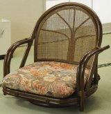 籐 回転座椅子 ロータイプ