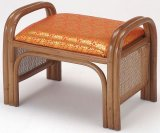 籐ご仏前金襴座椅子 ハイタイプ (朱色生地ブラウン色フレーム)