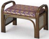 籐ご仏前金襴座椅子 ハイタイプ (紫色生地ダークブラウン色フレーム)