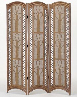 画像1: 籐スクリーン3パネル(高さ175cm) ダークブラウン色