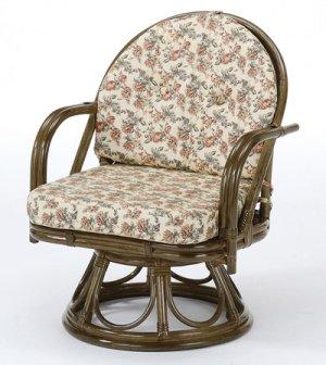 画像1: 籐 回転座椅子 ミドルハイタイプ