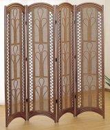 籐スクリーン4パネル(高さ155cm) ダークブラウン色