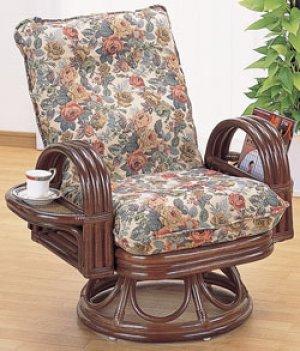 画像1: 籐 リクライニング回転座椅子 ハイタイプ