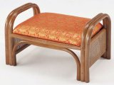 籐ご仏前金襴座椅子 ロータイプ (朱色生地ブラウン色フレーム)